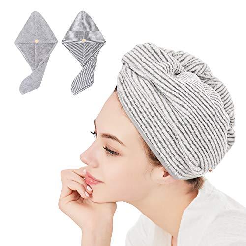 2 toallas de microfibra para mujeres y niñas ultra suaves para secado de pelo mojado para baño, ducha, turbante de pelo súper absorbente de secado rápido para cabello rizado largo y grueso