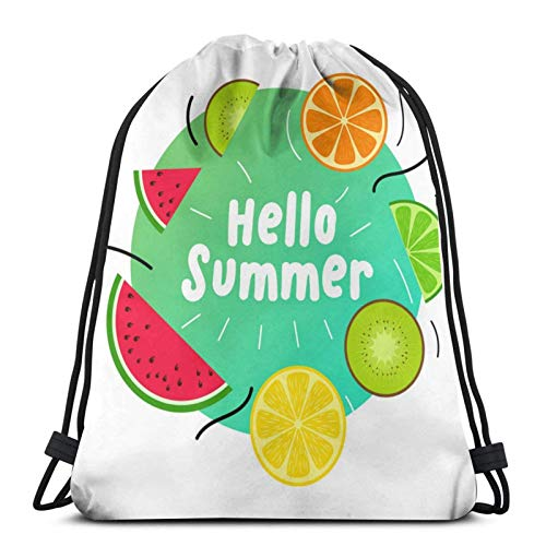 Lsjuee Summer Juicy Fruits DesignDrawstring Backpack Sports Fitness Backpack Waterproof Men's and Women's Waist Bag Travel Yoga Beach School