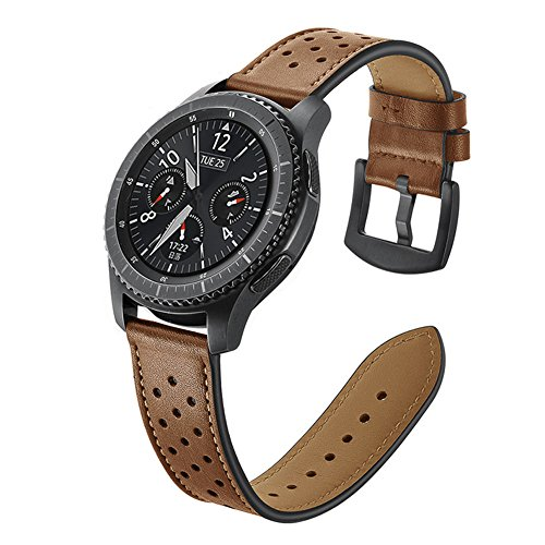Armband Gear S3 Frontier leer 22 mm armband Samsung Galaxy Watch 46 mm lederen armband heren armbanden Gear S3 Classic reserveband Samsung SM-R760 strap met metalen sluiting voor Sport Samsung Gear S3