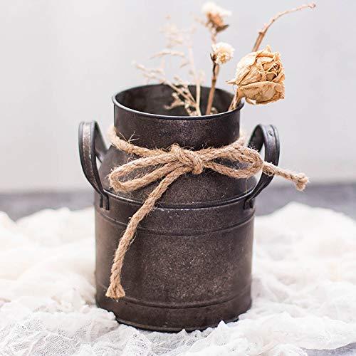 TinaDeer Vintage Retro Blumenvase Milchkanne Eisen Blumentopf Shabby Chic Deko Landhaus Vase Rustikal Blumeneimer Metall Übertopf Kaktus für Muttertag Balkon Wohnzimmer Tischdeko Ornamente (15x14cm)