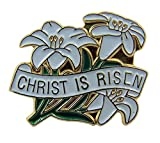 Religious Lapel Pins Gold Tone and White Enamel Easter Lily Christ is Risen, 3/4 Inch