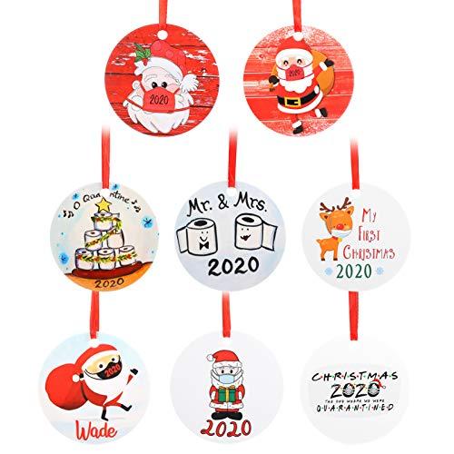 TOYANDONA 8 Stück 2020 Weihnachten Hängende Verzierung Santa Claus Figur Anhänger Personalisierte Geschenkanhänger für Weihnachten Ferienhaus Kamin Baum Tür Wanddekoration