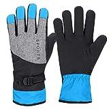 KJLH Invierno al aire libre a prueba de viento guantes de mano completa engrosados guantes calientes pesca esquí ciclismo azul guantes
