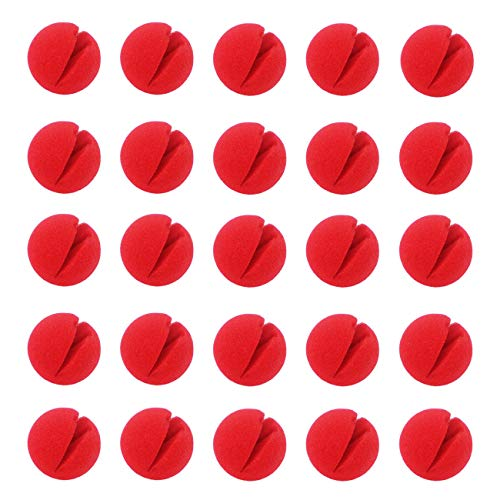 Ogrmar 25PCS Red Circus Clown Nose Christmas Costume Party Cosplay Red Nose Day Halloween Decor (25PCS)
