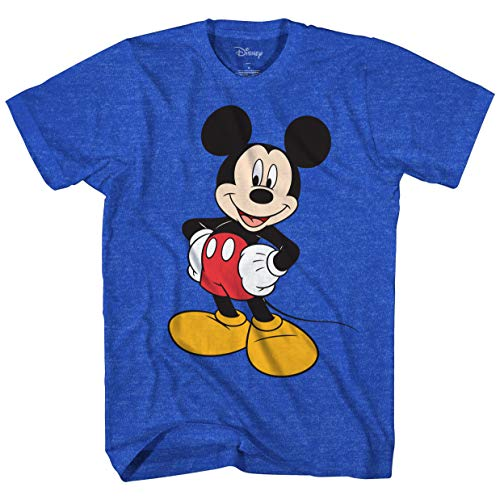 Disney Mickey Mouse Men#039s Mickey Wash Short Sleeve TShirt Royal Blue Heather Extra Large