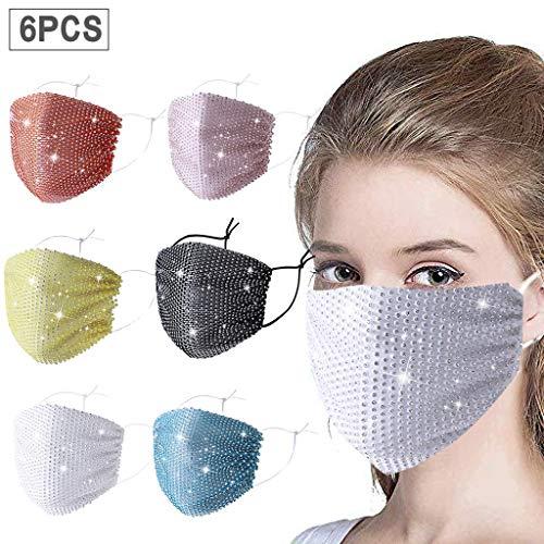 6 Stück Anti-Staub Mundschutz mit Glitzersteinen Baumwolle Unisex, Mundbedeckung Waschbar Schwarz, Atmungsaktiv Radfahren Gesichtsschutz für Outdoor