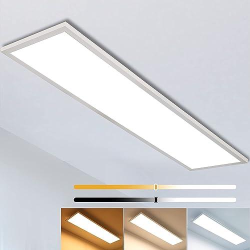 Plafonnier LED Dimmable 120x30cm, Super Panneau LED Lumineuse avec Télécommande, Suspension Lampe de plafond (40W, Bl...