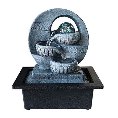 Regalos para oficinas de Fuentes de Interior y Exterior Fuente de Feng Shui de Interior y Exterior Cascada de relajación pequeña Fuente de Agua pequeña de 3 Capas con Bol