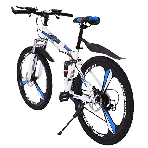 GHGH 26in Folding Mountain Bike Shimanos 21 Speed Bicycle Full Suspension MTB Bikes High Carbon...