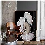 cuadros decoracion salon Plumas abstractas nórdicas para mujer, pintura en lienzo, impresiones, carteles, figuras en blanco y negro, imágenes para la decoración de la sala de estar, 19.7x27.6in (50x7