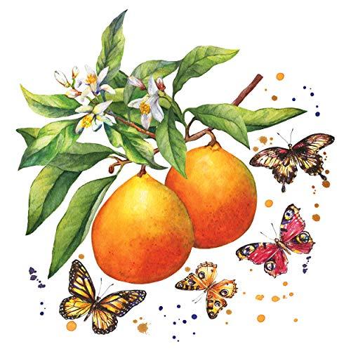 CasaJame Servietten (2er Set / 40Stück) 3-lagig 33x33cm Orangenblüte mit Schmetterlingen