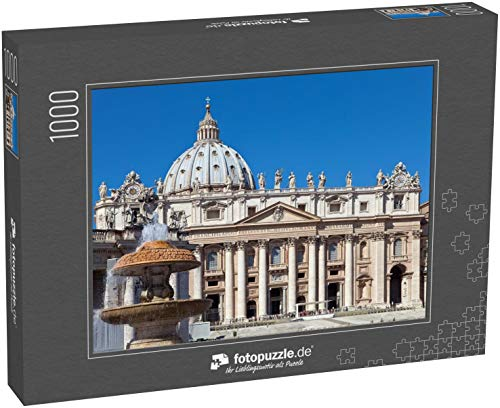 Puzzle 1000 Teile Vatikan. EIN Brunnen vor dem Petersdom - Klassische Puzzle, 1000/200/2000 Teile, in edler Motiv-Schachtel, Fotopuzzle-Kollektion 'Italien'