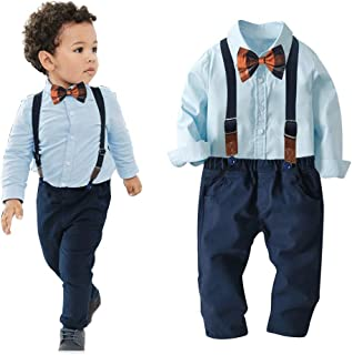 Qin.Orianna Toddler Baby Boy 2Pcs Gentleman Long Sleeve Bow Tie Shirts+Suspenders Pants Suits Clothes Outfits Set 12M-6Y