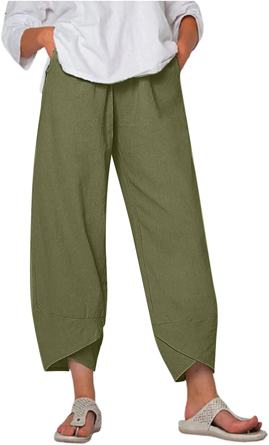 Meengg Outstanding Womens Cotton Linen Harem Casual Max 88% OFF Loose Pants Elastic Wais