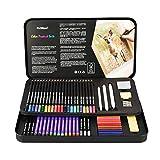 FLOWood 64 PCS Crayons Aquarellables de Dessin Art Set,Dessin et Croquis Kit Inclus...