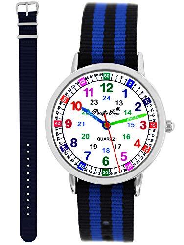 Pacific Time Kinder Armbanduhr Jungen Lernuhr 2 Wechsel Textilarmband blau schwarz-blau analog Quarz 11140