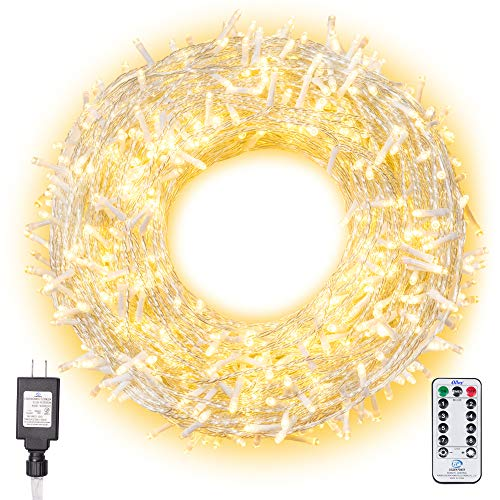 Ollny Christmas Lights 800 LED 330FT Outdoor String Lights Warm White with Remote Control and Timer Plug in 8 Lighting Modes for Wedding Party Christmas Fairy Decoration Lights NOT CONNECTABLE