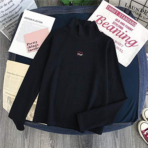 HNKPWY Lente Casual Zwart Borduurwerk Vrouwen T Shirt Coltrui Lange Mouwen Letter Liefde Dames Shirt Wit T Shirt Vrouwen