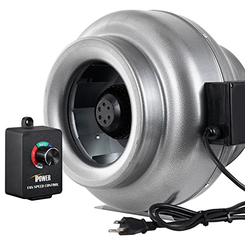 iPower GLFANXINLCTR10 10 Inch 862 CFM Duct Inline HVAC Exhaust Blower Ventilation Fan with Variable Speed Controller, 10