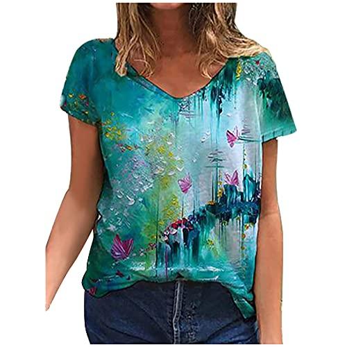 Camisetas Manga Corta Mujer Casual T-Shirt Estampado Verano Suelto Cuello en V Tallas Grandes Tops Deporte Blusa Camisa de Vestir tee Shirts Basicas Camiseta