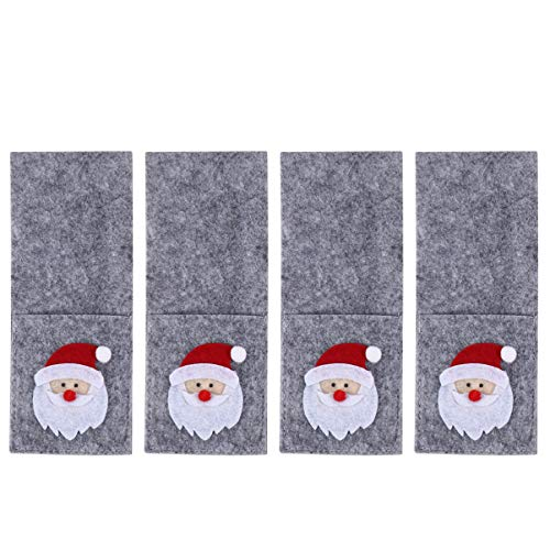 Amosfun 4Pcs Christmas Flatware Silverware Holders Knife Fork Chopsticks Bags Cutlery Pouches Utensil Organizers Santa Claus Pattern for Xmas Party Dinner Table Decorations