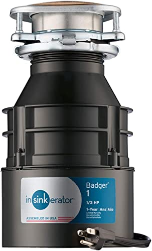 InSinkErator Garbage Disposal with Cord, Badger 1, 1/3 HP Continuous Feed