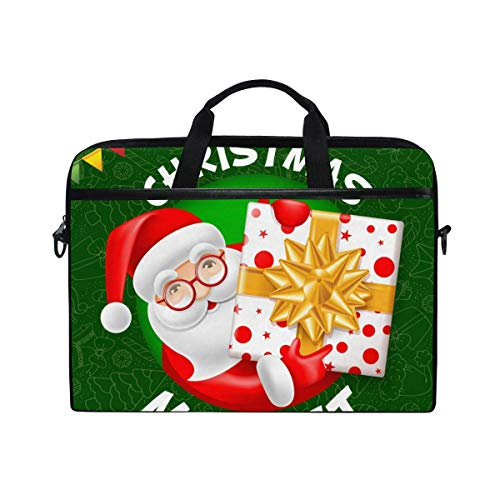 Laptop Sleeve Case,Laptop Bag,Merry Christmas Santa Claus with Gift Water Briefcase Messenger Notebook Computer Bag with Shoulder Strap Handle,29×40 CM/15.6 Inch