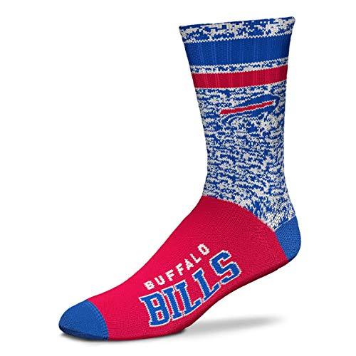 For Bare Feet NFL Retro Deuce Crew Socken – Medium & Large erhältlich (Medium (Fit 6-10), Buffalo Bills)