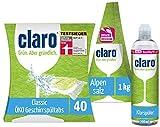 claro Classic Set de Limpieza para Lavavajillas con 40 Pastillas para Lavavajillas Eco Classic - 1kg de sal para Lavavajillas - 500ml Rinse Aid