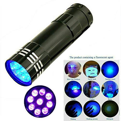 Amiispe Torcia UV Blacklight Torcia UV Torcia UV Portatile Luce rivelatore di Denaro UV