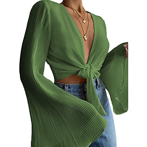 YILEEGOO Blusa de color sólido para mujer, mangas largas acampanadas y escote profundo en la parte superior, blanco/verde/caqui, verde, XL
