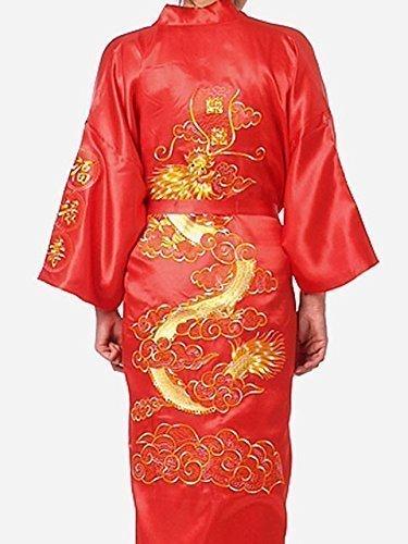 Femminile / Donna Abbigliamento Notte Giapponese Dragon Ricamato Abito Tradizionale Maschile Pigiami Kimono 1 Misura Senior (Rosso) con Color Oro Ricamo Takashi per Tutte le Occasioni