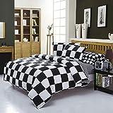 Michorinee Ropa de cama de 2 piezas, de microfibra, a cuadros, reversible, 140 x 200 cm y 70 x 90 cm, diseño de cuadros, color blanco y negro