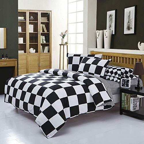 Michorinee Ropa de cama de 2 piezas, de microfibra, a cuadros, reversible, 140 x 200 cm y 70 x 90...