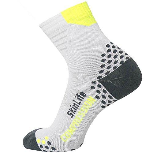 Pure Athlete Laufsocken - Anti-Blister Viertel-Länge Sportsocken - Dot Padding Technologie, Damen Unisex-Erwachsene Herren, weiß/grau, Small-Medium