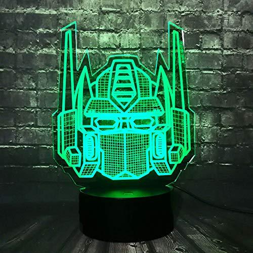 Jinlycoo Transformers Head Lámpara de mesa Forma LED 7 Color Cambio remoto Dibujos animados Fiesta Suministro Dormitorio Decoración Luz de noche Fiesta Navidad Amigo Navidad Año Nuevo Regalo para