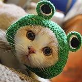 Haustier Hut - Hund Katze Haustier Mütze Handarbeit gestrickt Wollgarn Hut für Welpen Teddy Cartoon Frosch Tier Hund Katze Pflege Zubehör Bekleidung, grün, S