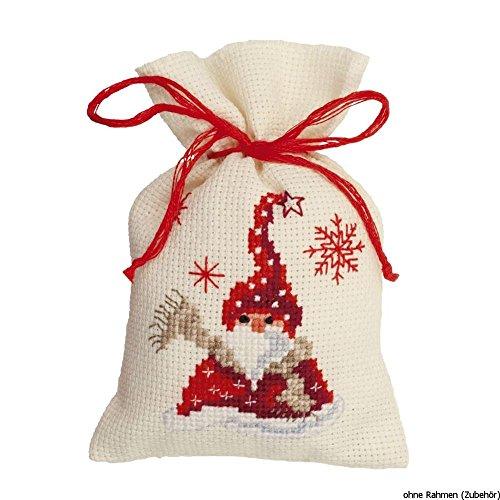 Vervaco Sinterklaas met sjaal kruidenzakjes-borduurverpakking in getelde kruissteek, katoen, meerkleurig, 8 x 12 x 0,3 cm