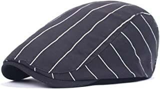 2019 Women Stripe Peaked Cap for Unisex Cotton Adjustable Flat Cap Duckbill Newsboy Hat 57-59cm Skin-Friendly (Color : 1, Size : Free Size)