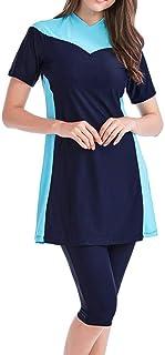 Souqgreen Women SwimwearHot New Muslim Islamic Short Sleeve Modest Swimsuit Beachwear Burkini Lady Rash Guard Surfing Suit...