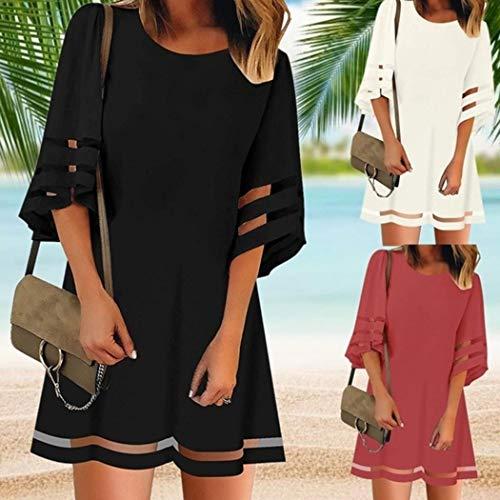 Women Casual O-Neck Flare Sleeve A-line Dress