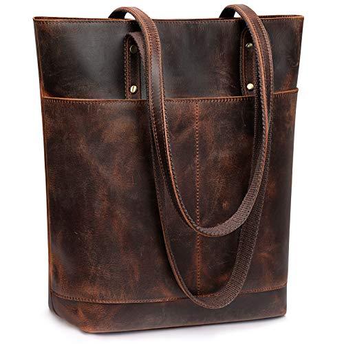 S-ZONE Bolso de mano de cuero genuino de las mujeres bolso de hombro grande bolsillo frontal, marrón (Café Oscuro), Large