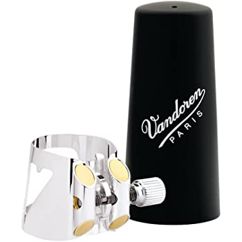 Vandoren LC01P Optimum Ligature and Plastic Cap for Bb Clarinet Silver Plated with 3 Interchangeable Pressure Plates