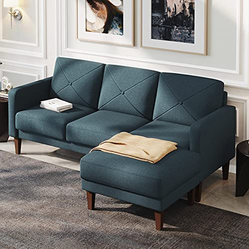Belffin Corner Sofa 3 Seater Sectional Sofa with Chaise Lounge L Shaped Sofa Couch Blue