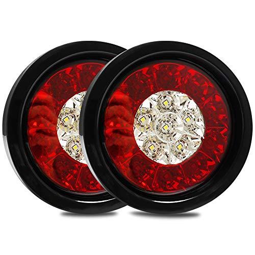 MLING 4 Pollici 2 Pcs 16 LED Fanali Posteriori Luce del Anello di Gomma per 12V Rimorchio per Camper Camion (Rosso+Giallo)