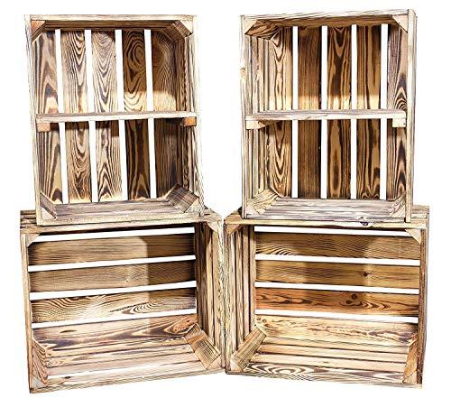 Vintage-Möbel24 GmbH DIY Set (4 Kisten) Gemischtes Paket Flambierte Holzkisten-Weinkisten/Regal aus geflammten Obstkisten mit Zwischenboden -quer-
