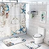 Badmat Set 4 Stuk, 4 Stuk Pak Zee Zeester Schelp Strand Waterdicht Douchegordijn Set Romantische WC Cover Badmat Badkamer Decor