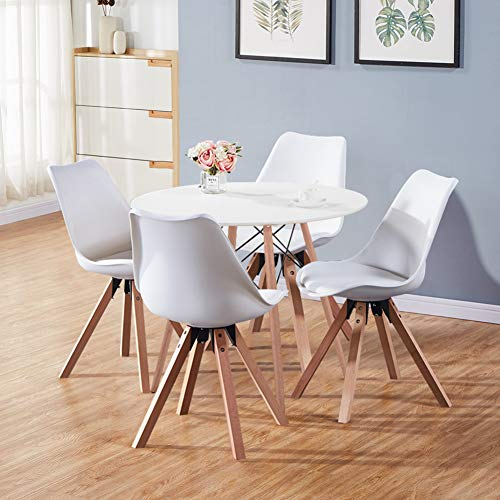 GOLDFAN 5-Piece Dining Room Set Round Dining Table and 4 Chairs Wood Style Kitchen Table and Soft Cushion Chairs,White