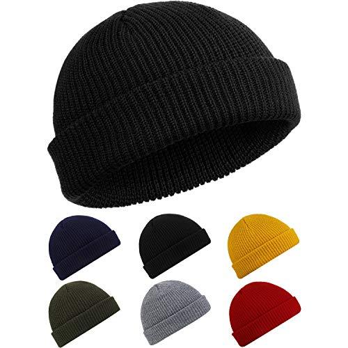 SATINIOR Bonnet de Trawler Watch Cap Chapeau de Crâne à Revers Bonnet Unisexe d'Hiver de Pêcheur (Noir),Taille unique