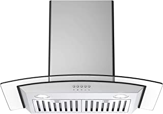 COSTWAY Wall Mounted Range Hood, 30-Inch Kitchen Stove Vent Hood 412-CFM, 3-Speed Exhaust Fan, LED lights, Ceiling Mount Range Hood with Adjustable Duct, Stainless Steel